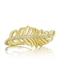Penny Preville 18K Yellow Gold Diamond Feather Ring Women's