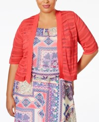 Ny Collection Plus Size Shadow Striped Cropped Cardigan El Coral