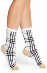 Women's Arthur George By R. Kardashian Plaid Crew Socks White