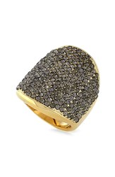 Women's Vince Camuto Pave Shield Ring Gold Black