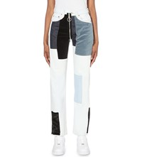 Off White C O Virgil Abloh Patchwork Slim Fit High Rise Jeans Bleach