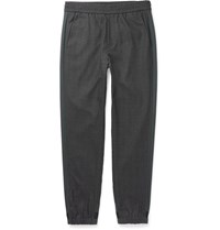 Solid Homme Tapered Stripe Trimmed Wool Trousers Gray