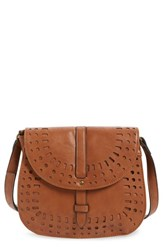 Dirty Ballerina Perforated Faux Leather Saddle Crossbody Bag Beige Tan
