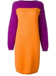 Stephen Sprouse Vintage Colour Block Knit Dress Yellow And Orange