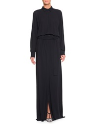 Bottega Veneta Belted High Slit Long Shirtdress Dark Navy