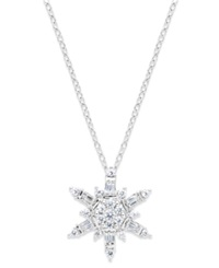 Macy's Diamond Snowflake Pendant Necklace In 14K White Gold 1 2 Ct. T.W.