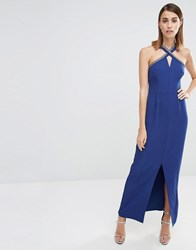 Warehouse Embellished Halter Neck Maxi Dress Navy