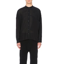 Isabel Benenato Loose Fit Wool Blend Shirt Black