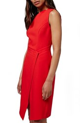 Topshop Women's Faux Wrap Front Midi Dress Red