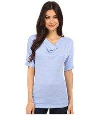 Michael Stars Shine Elbow Sleeve Drape Neck Top Water Women's T Shirt Blue