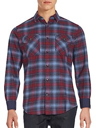 James Campbell Plato Plaid Point Collar Shirt Wine