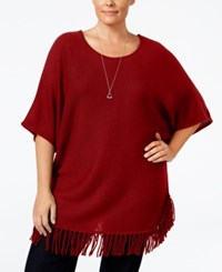 Ny Collection Plus Size Knit Fringe Poncho Sweater Red Fox