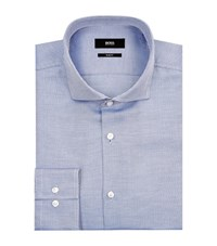 Boss Diagonal Twill Cotton Shirt Male Blue