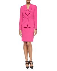 Albert Nipon Ruffled One Button Jacket W Dress Deep Rose