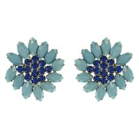 Eclectica Vintage 1950S Weiss Chrome Plated Glass Stone Clip On Earrings Turquoise Navy