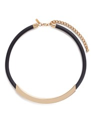 Kenneth Jay Lane Curved Bar Pendant Rubber Necklace Metallic