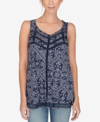 Lucky Brand Printed Open Stitched Tank Top Blue Multi