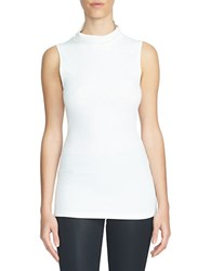 1.State Sleeveless Turtleneck Top White