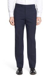 Zanella Men's 'Devon' Flat Front Check Wool Trousers Navy