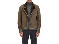 Brunello Cucinelli Men's Shearling Lined Leather Moto Jacket Brown