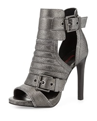 Luxury Rebel Abigail Metallic Leather Bootie Anthracite