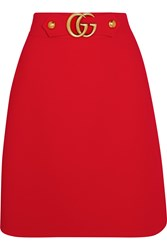 Gucci Embellished Wool And Silk Blend Twill Skirt Red