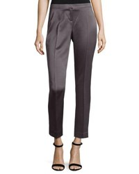Laundry By Shelli Segal Satin Skinny Leg Ankle Pants Gray