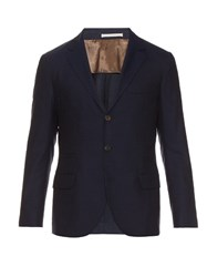 Brunello Cucinelli Single Breasted Wool Blazer Navy
