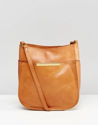 Asos Curved Vintage Leather Cross Body Bag Tan