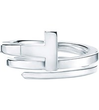 Tiffany And Co. T Wire Ring In Sterling Silver With Diamonds