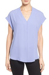 Pleione Petite Women's High Low V Neck Mixed Media Top Blue Brunnera