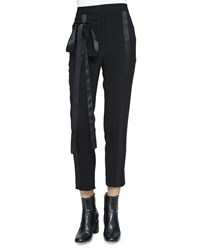Monique Lhuillier Tapered Leg Cropped Tuxedo Pants Noir Women's