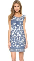 Sea Embroidered Sleeveless Dress Denim Chambray