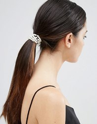 Asos Faux Pearl Hair Tie And Bun Holder Cream