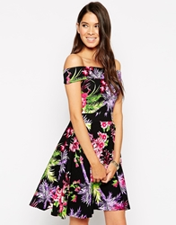 Vesper Posey Bardot Skater Dress In Tropical Print