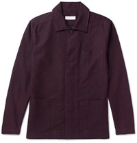 Several Curzon Pinstriped Cotton And Wool Blend Shirt Jacket Burgundy