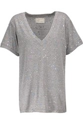 Current Elliott The V Neck Printed Stretch Jersey T Shirt Multi