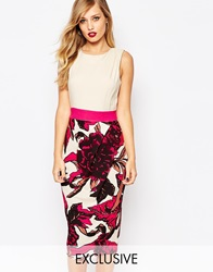Closet 2 In 1 Pencil Dress With Overscale Floral Nudepinkfloral