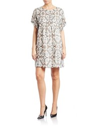 French Connection Boxy Printed Shift Dress Cloud Cream