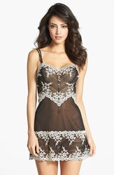 Women's Wacoal 'Embrace' Lace And Mesh Chemise Black