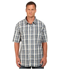 Carhartt Big Tall Force Mandan Plaid S S Shirt Dark Blue Men's Short Sleeve Button Up