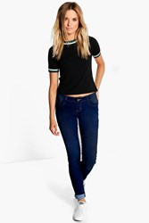 Boohoo Low Rise Dark Wash Skinny Jeans Dark Blue