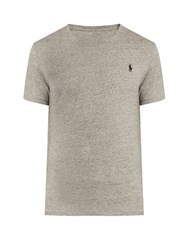 Polo Ralph Lauren Logo Embroidered Cotton T Shirt Light Grey