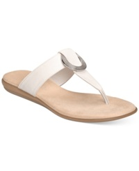 Aerosoles Supper Chlub Flat Thong Sandals Women's Shoes White