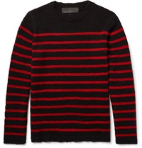 The Elder Statesman Picao Triped Cahmere Weater Black
