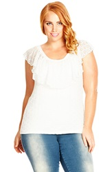 City Chic 'Romantic Flutter' Ruffle Overlay Lace Peasant Top Plus Size Ivory