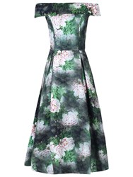 Jolie Moi Bardot Neck Midi Prom Dress Dark Green