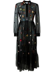 Red Valentino Sequin Details Tulle Dress Black