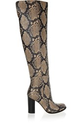 Sam Edelman Rylan Snake Effect Leather Over The Knee Boots Snake Print