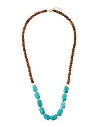 Panacea Long Horn And Howlite Beaded Necklace Turquoise Multi